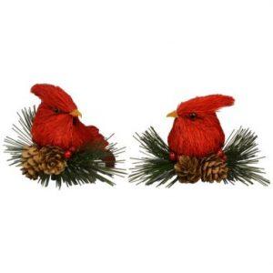 3″ Bottle Brush Cardinals on Perch