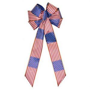 7 Loop Patriotic Flora Satin Bow 16″ Tails