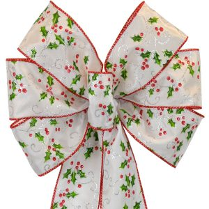 7 Loop #40 Wired Holly Berry Bow, 16″ Tails