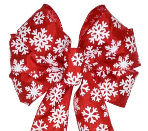 7 Loop #40 Wired Red White Snowflake, 16″ Tails