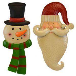 17″ Snowman & Santa Wall Hanger