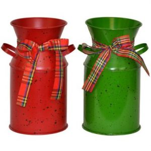 8″ Holiday Metal Milk Jar