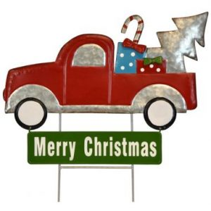 18″ Metal Truck Merry Christmas Stake