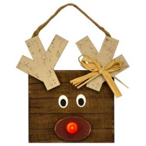 8″ LED Wood Reindeer Ornament