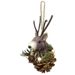5″ Reindeer Ornament w/Pine Cone/Wreath