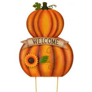 25″ Metal Pumpkin Welcome Stake