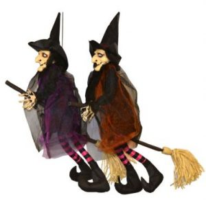 44″ Hanging Witch w/Broom & LED Eyes