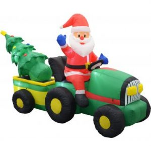 9 FT Inflatable Santa on Tractor w/ Tree