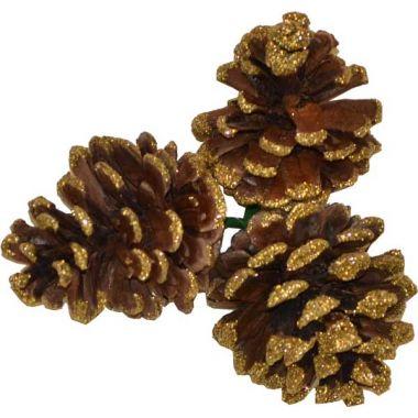 Small Triple Pine Cone w/ Gold Tip  2″
