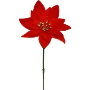 4″ Velvet Poinsettia Pick