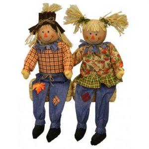 36″ Sitting Scarecrow Couple