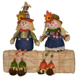 17″ Sitting Scarecrows w/ Beaded Legs