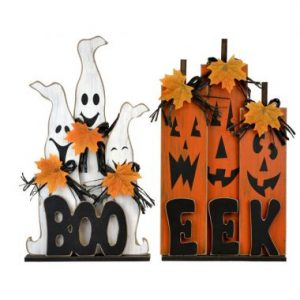 15″ Standing Wood Ghost & Pumpkin Trio