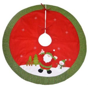 48″ Red & Green Felt Tree Skirt w/Santa