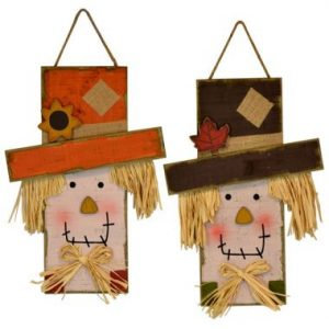 18″ Wood Scarecrow Head Wall Hanging