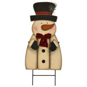 33″ Wooden Snowman Stake
