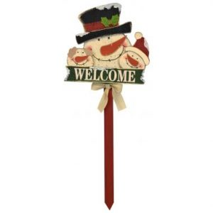 33″ Wooden Snowman Family Stake