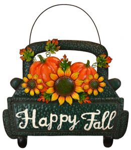 "14″ Metal ""Happy Fall"" Truck Wall Hanger"