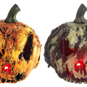 9″ Scary Pumpkin w/Red LED Light