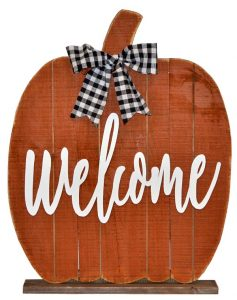"24″ Standing Wood Pumpkin ""Welcome"""