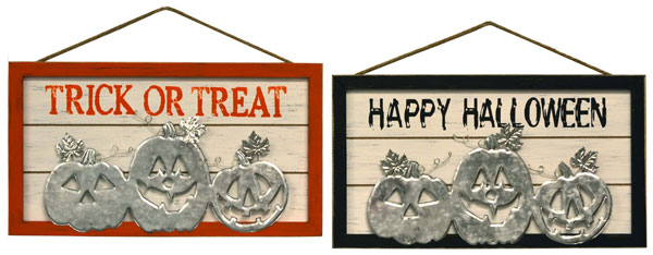 18″ Wood/Metal Halloween Wall Hanger