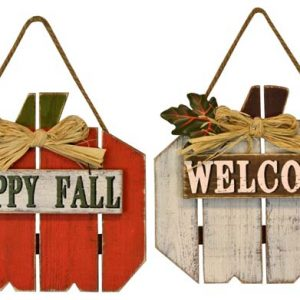 10″ Wood Pumpkin Wall Hanger