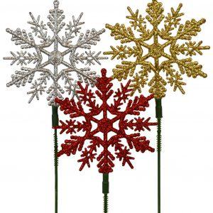Glitter Snowflake Pick 4″