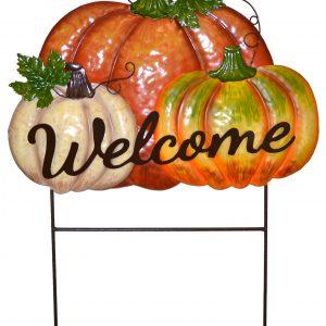 20″ Pumpkin Welcome Stake