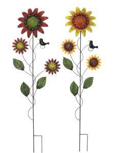 36″ Metal Sunflower Stake